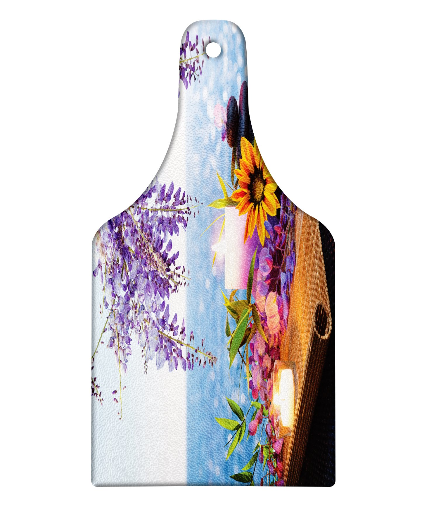 Lunarable Spa Cutting Board, Massage Stones with Daisy and Wisteria with the Seabed Foliage Meditation, Decorative Tempered Glass Cutting and Serving Board, Wine Bottle Shape, Pale Blue Lavander Green