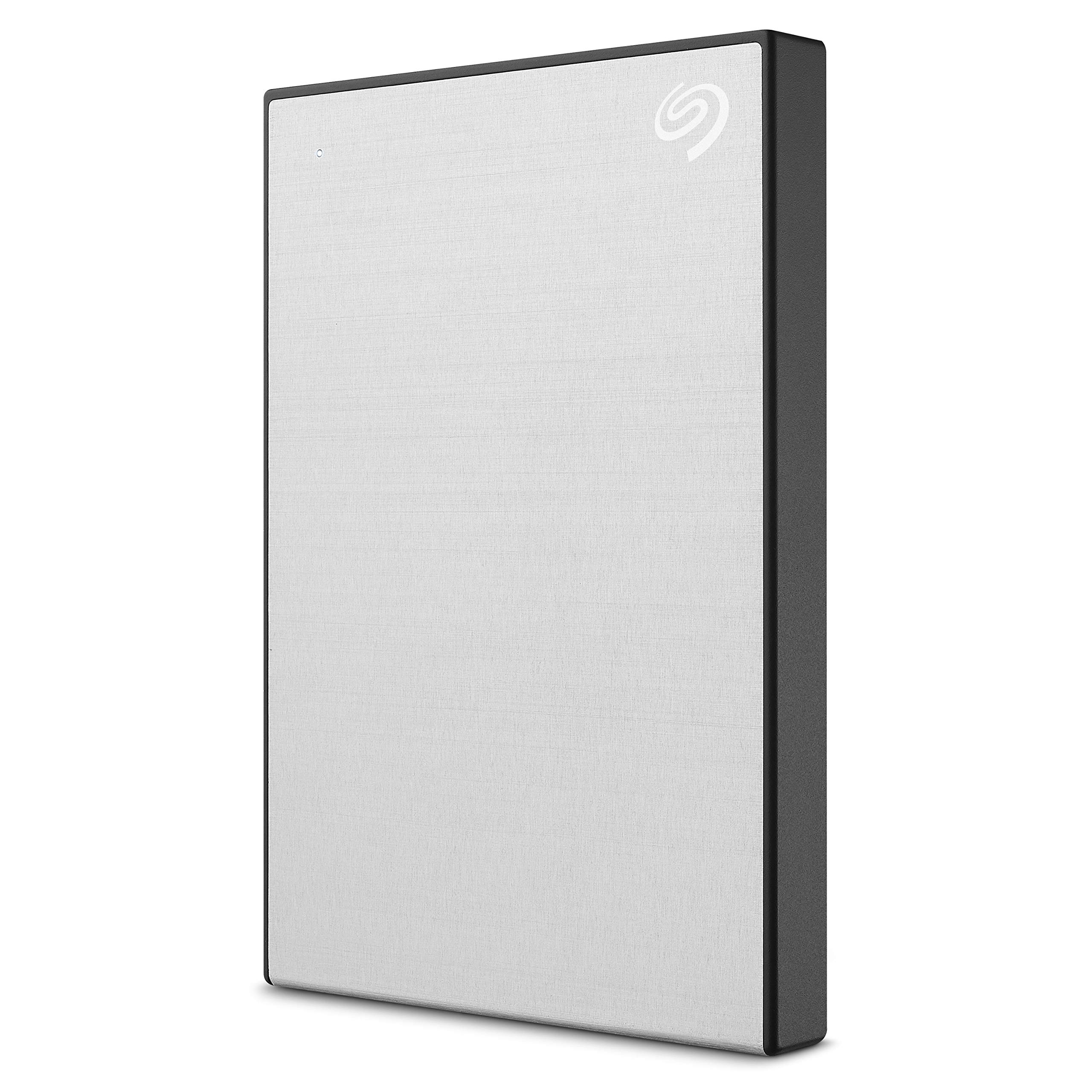 Seagate STHN2000401 Seagate 2TB Backup Plus Slim Portable External Hard Drive + 1Yr Mylio Create + 2MO Adobe CC Photography, Silver