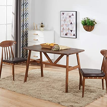 Amazoncom Greenforest Dining Table Modern Wood Top With Metal Legs