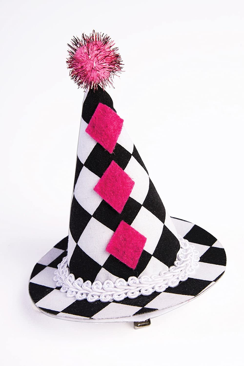 Mini Harlequin Clown Cone Hat Pompom Women/'s Costume Accessory Black White