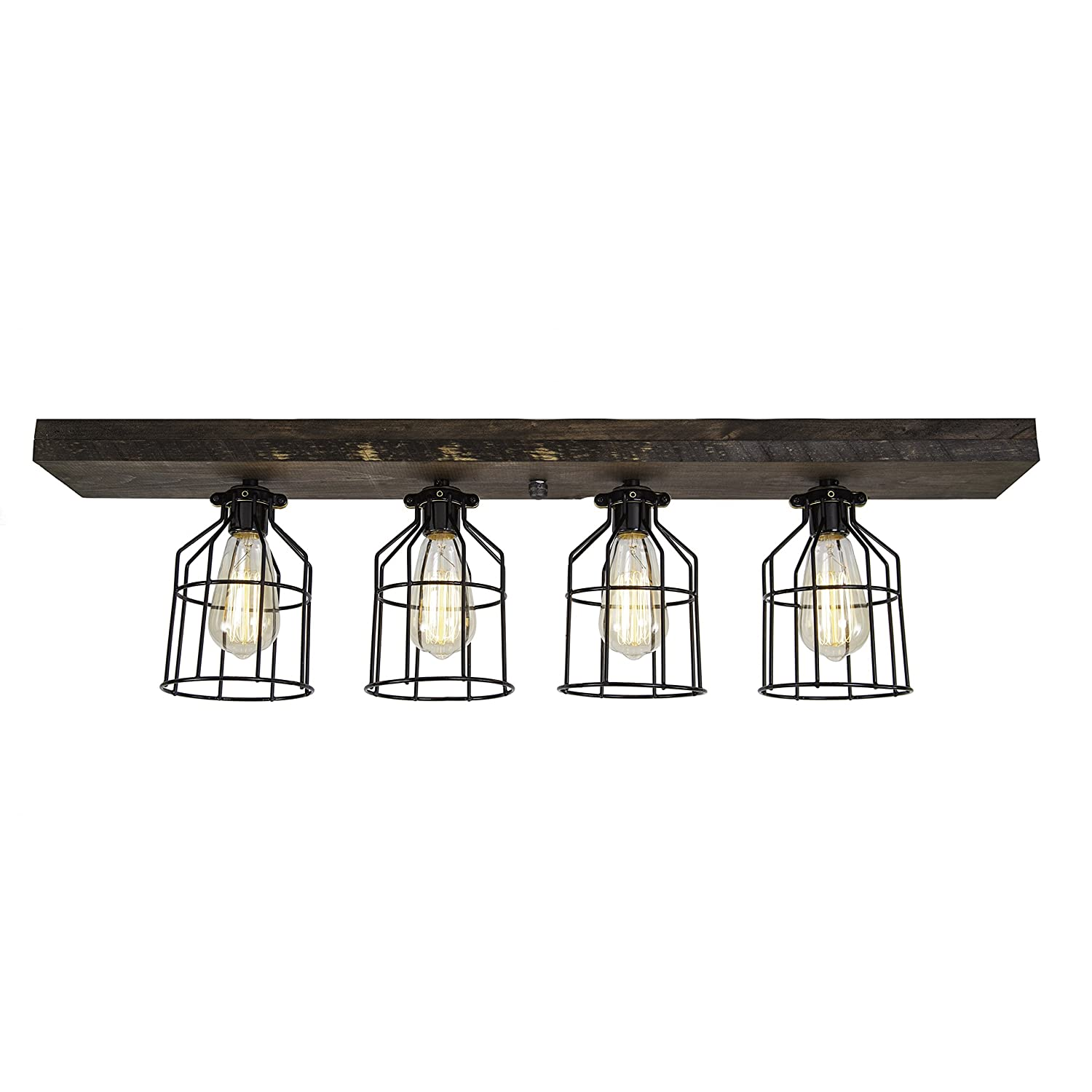 West Ninth Vintage Flush Wood Mount Ceiling Light | Perfect Indoor Farmhouse Home Decor With Light cages