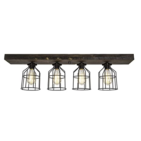 Farmhouse Wood Flush Mount Ceiling Light With Cages