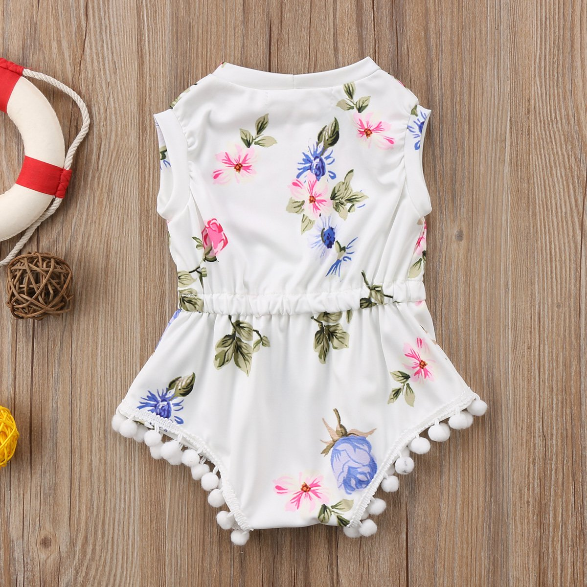 Enhill Infant Toddler Baby Girl Floral Sleeveless Romper with Pompom Bodysuit Outfit Clothes