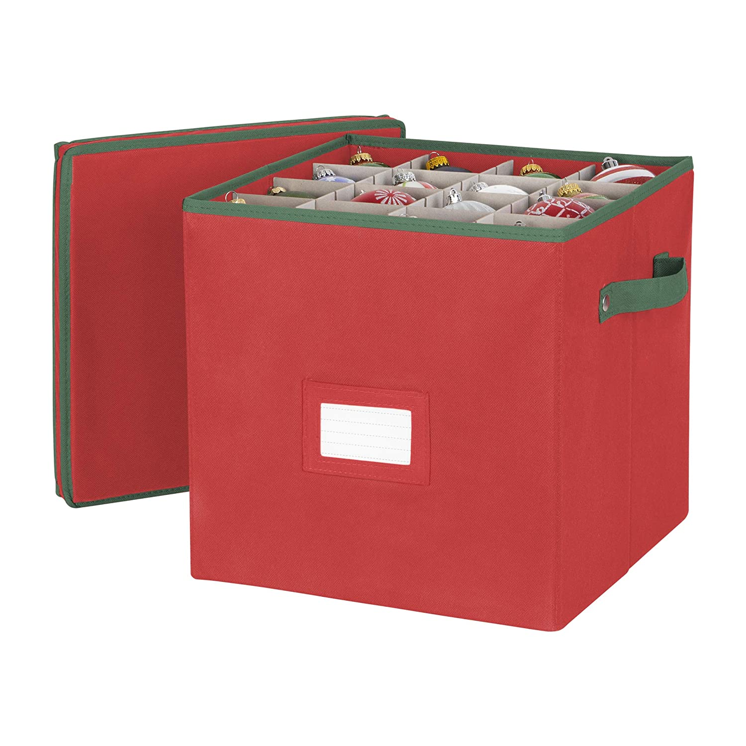 Holiday Ornaments Storage Cube with 64 Individual Compartments - Made with Non-Woven Polypropylene Fabric - Removable Top and Convenient Handle. Hold N Storage AX-AY-ABHI-46954