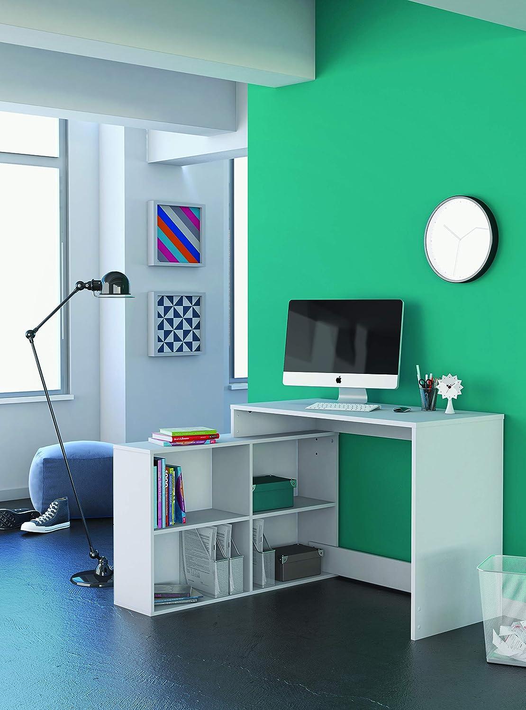 111,9x100,7x76,7 cm Demeyere Corner Bureau dangle Coloris Blanc Perle Panneaux de Particules