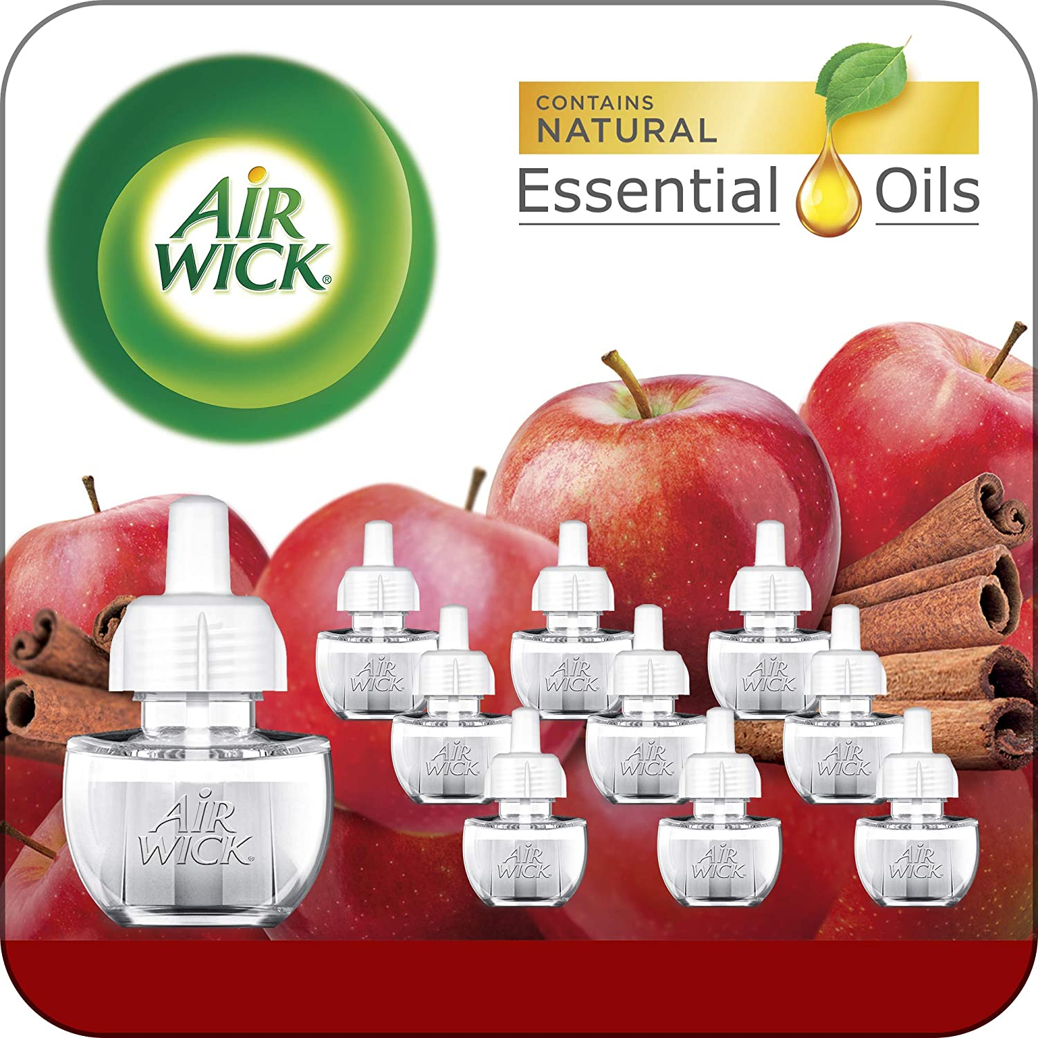 Air Wick Plug in Scented Oil 10 Refills, Apple Cinnamon, Holiday Scent, Holiday Spray, Eco Friendly, Essential Oils, Air Freshener