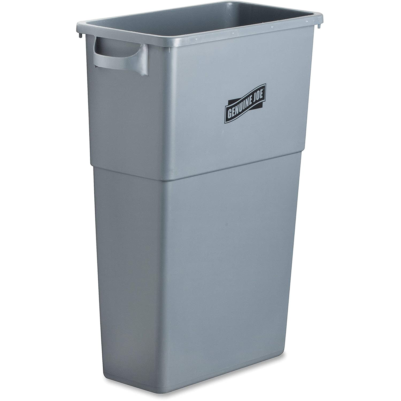 "Genuine Joe GJO60465 Plastic Space Saving Waste Container, 23 gallon Capacity, 23"" Width x 30"" Height x 11"" Depth, Gray"