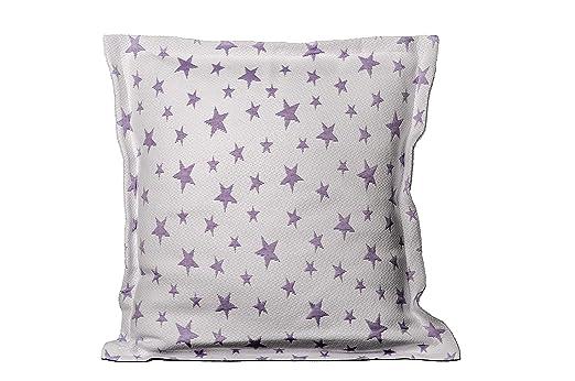 Colcha Cubrecama ESTRELLITAS de Jacquard Estrellas en Color Gris/Beig/Rosa/Azul/Lila (Todas Las Medidas). Reversible (Lila, 1 Funda Cojin 50x50 + 3cm ...