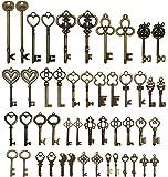 48pcs Antique Vintage Skeleton Keys Lot Heart Bow Punk Charm Necklace Pendants
