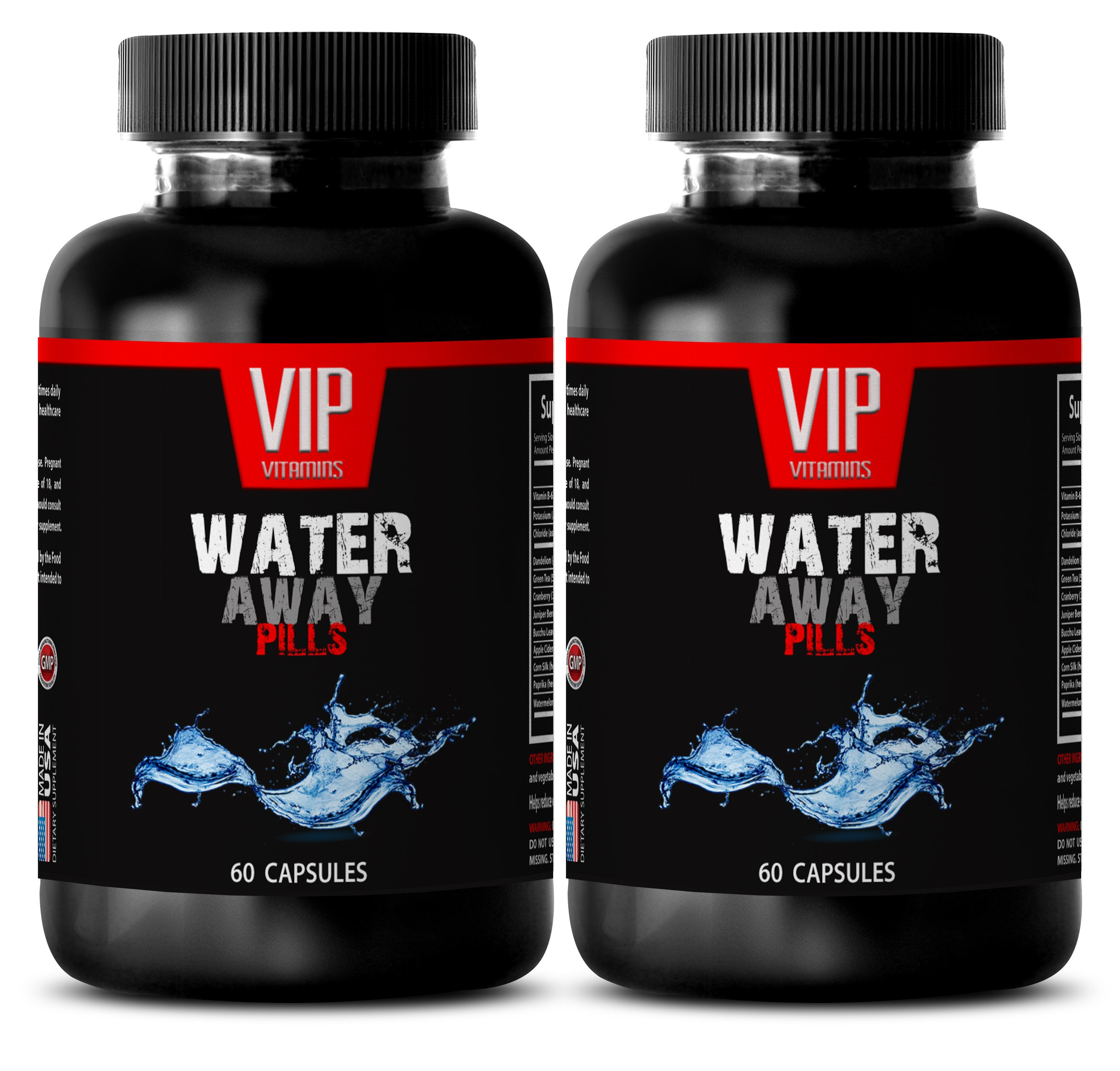 Bloating relief and belly reduction - WATER AWAY DIURETIC PILLS - Natural detox pills - 2 Bottles 120 Capsules