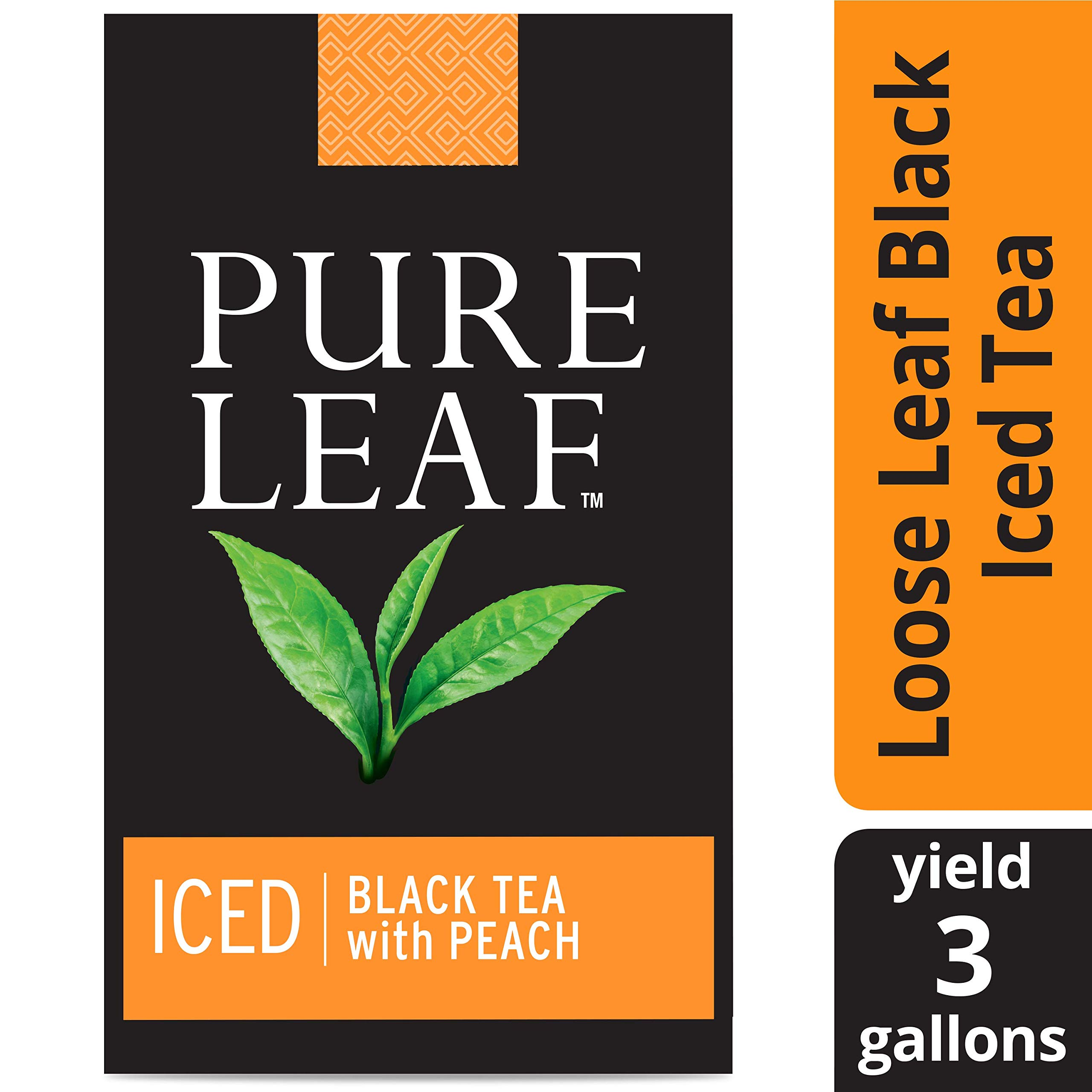 Pure Leaf Black with Peach Unsweetened Iced Loose Tea Pouch Made with Tea Leaves Sourced from Rainforest Alliance Certified Farms, 3 gallon, Pack of 24 by Pure Leaf