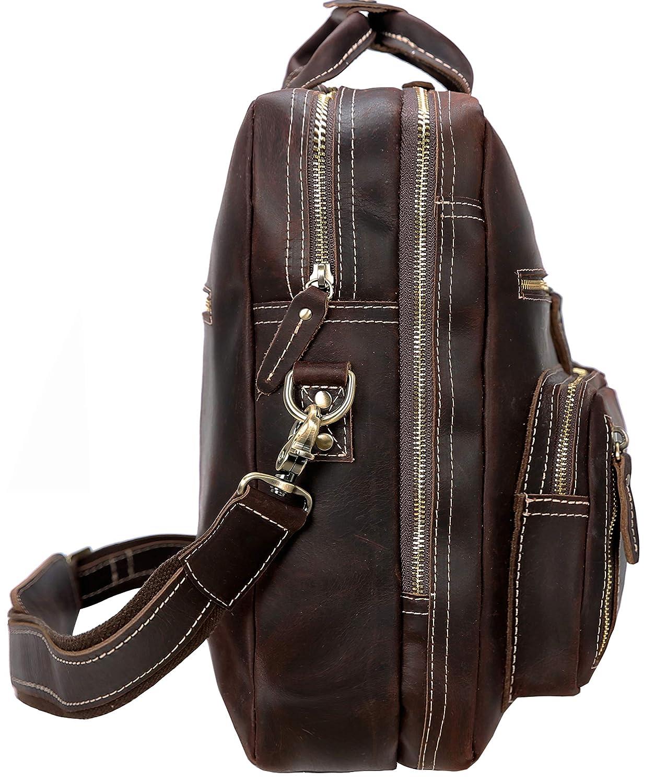 "Dark Brown Iswee Men Thick Leather 16/"" Laptop Briefcase Travel Messenger Bag Work Satchel"