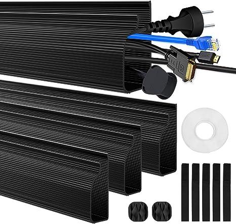 Kabelkanal Kabelmanagement Schreibtisch Kabelabdeckungen Verstecken Für Büro Und Zuhause Schwarz 4 Stück Baumarkt