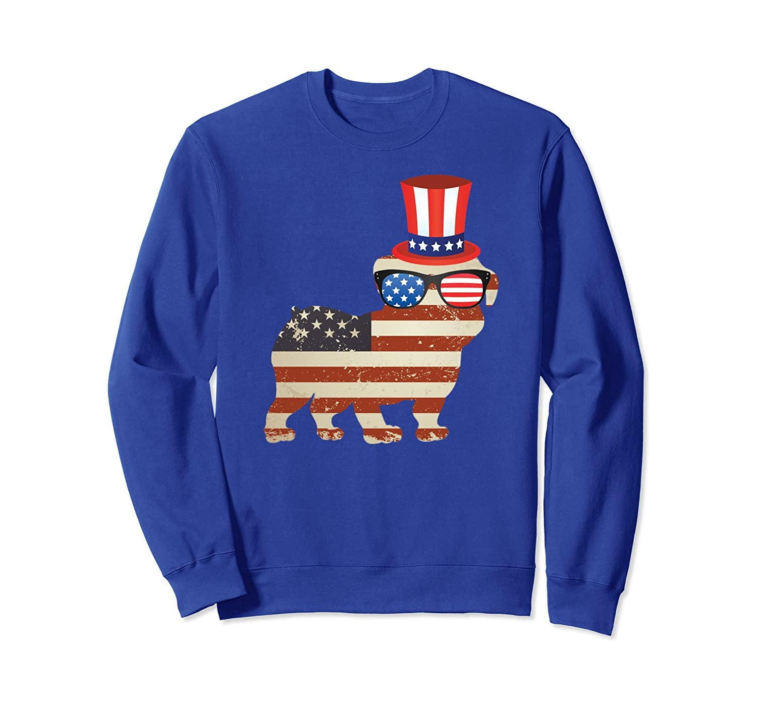 4th of July Distressed American Flag Bulldog Sweatshirt-AZP