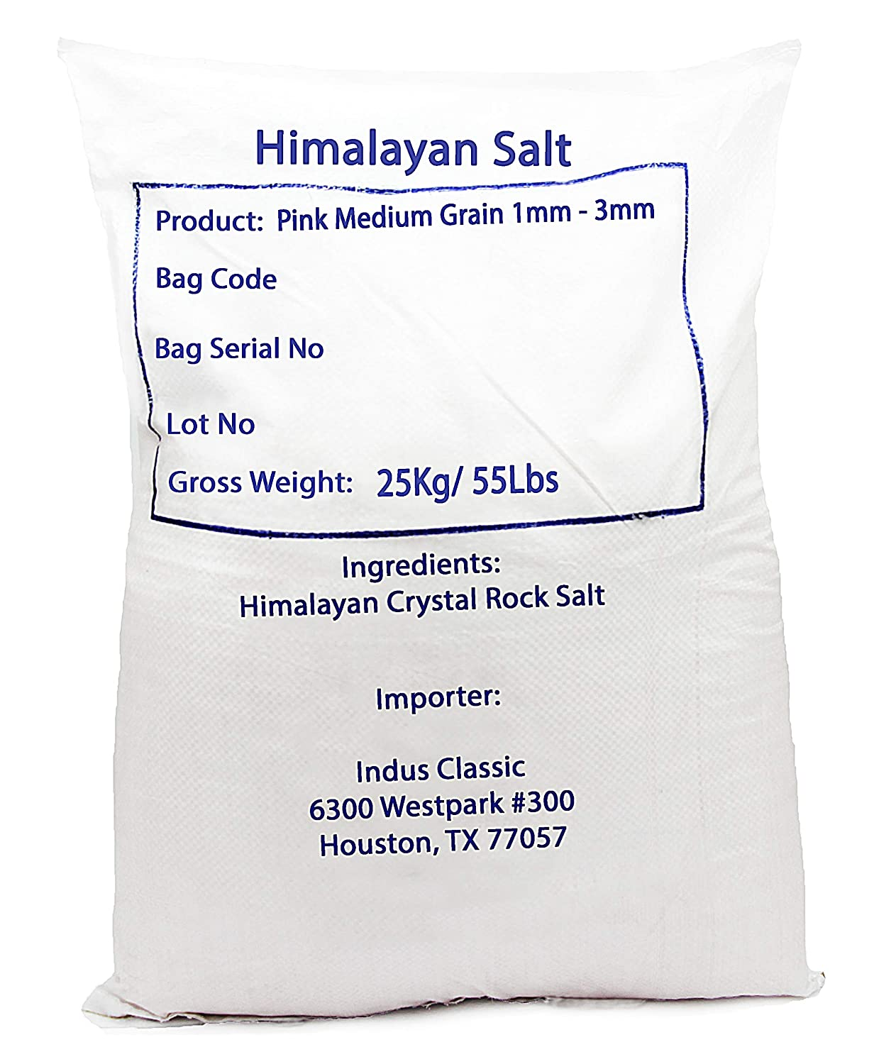 IndusClassic Authentic Pure Natural Halal Unprocessed Himalayan Edible Pink Cooking Salt --- 55 lbs Medium Coarse Grain 1~3mm