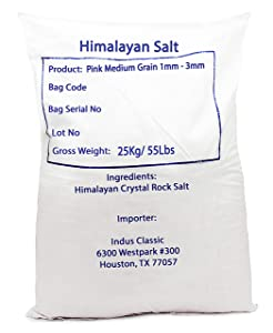 IndusClassic Authentic Pure Natural Halal Unprocessed Himalayan Edible Pink Cooking Salt --- 55 lbs Medium Coarse Grain 1~3mm