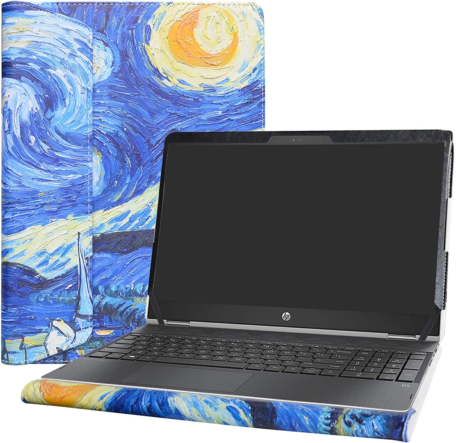 """Alapmk Protective Case Cover for 15.6"""" HP Pavilion X360 15 15-crXXXX (15-cr0000 to 15-cr9999,Such as 15-cr0011nr 15-cr0010nr) Laptop [Warning:Not fit Pavilion X360 15 15-brXXX 15-bkXXX],Starry Night"""