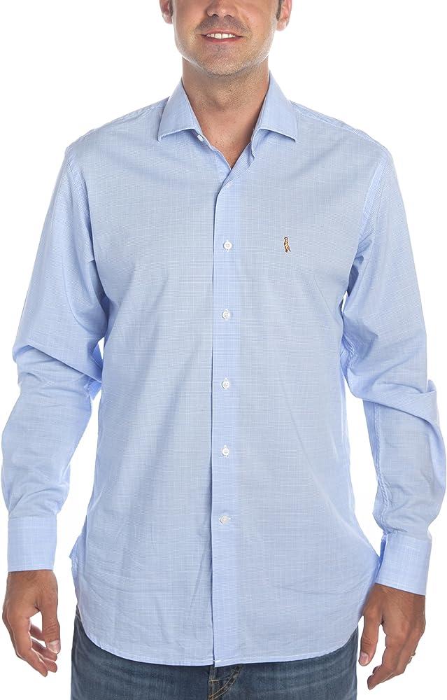 Camisa de Hombre Deep Wind Elegance Italia. Puro algodón de Color Azul a Cuadros príncipe de