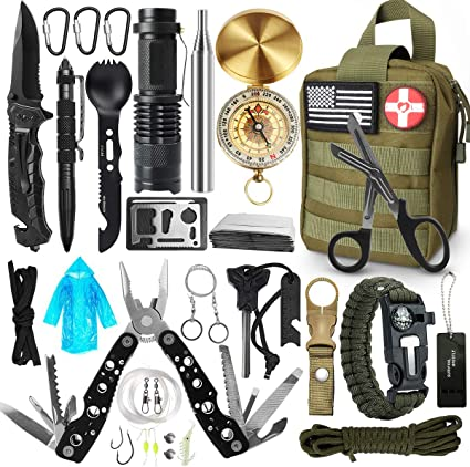 Survival Backpacking Kit Axe Hunting Fishing Medical Escape Multi Pouch Black