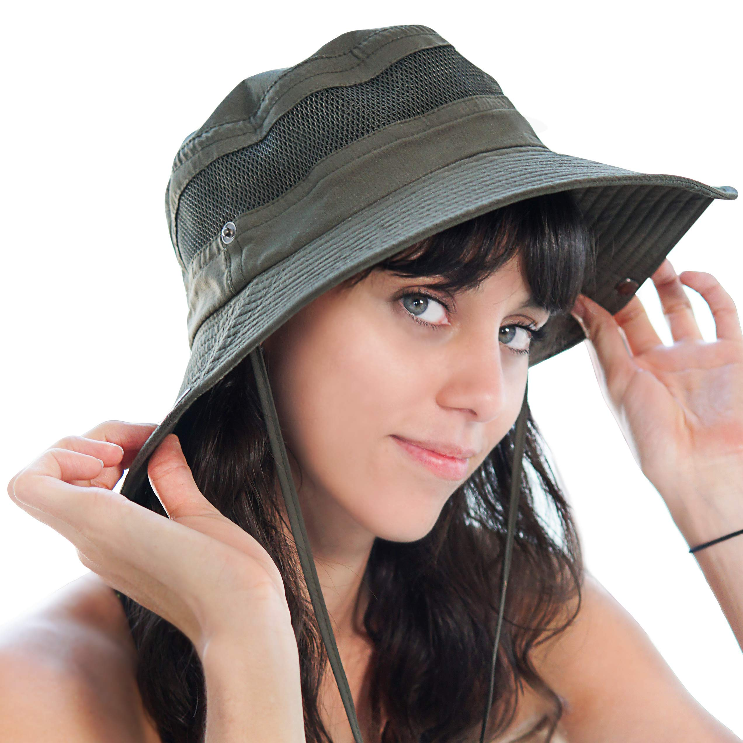 Fishing Hat Safari Cap with Sun Protection for Men and Women (Army Green) by GearTOP (Image #8)