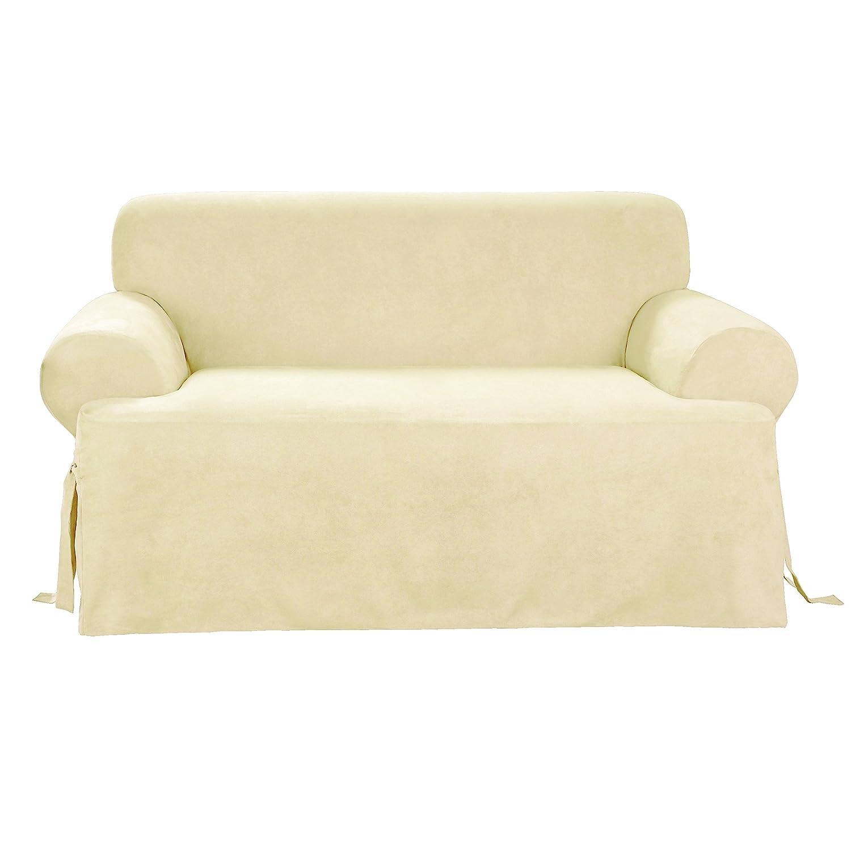 Amazon Sure Fit Soft Suede T Cushion Sofa Slipcover Cream