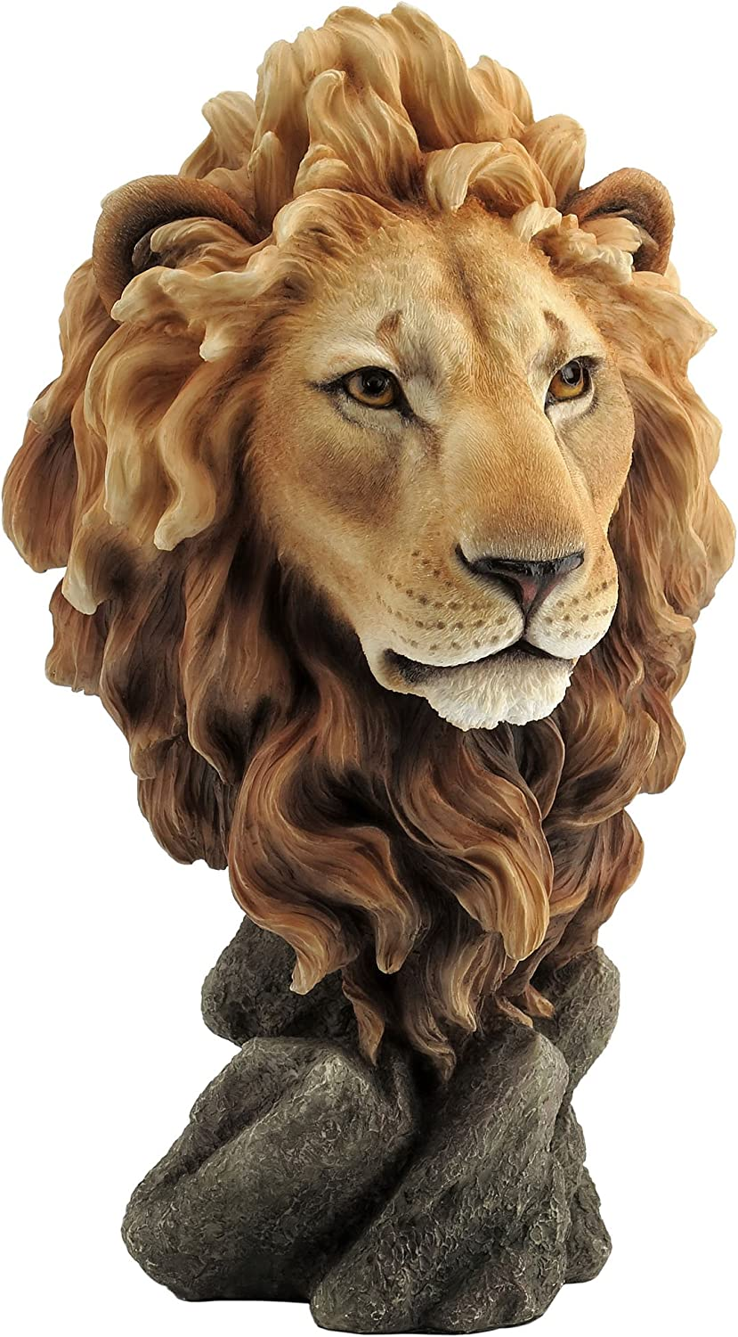 Amazon Com Large Lion Head Bust King Of The Jungle Statue Sculpture Home Kitchen