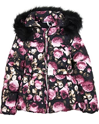 876ecbb1f73f Amazon.com: Le Chic Girl's Puffer Jacket In Floral Print, Sizes 5-14 ...
