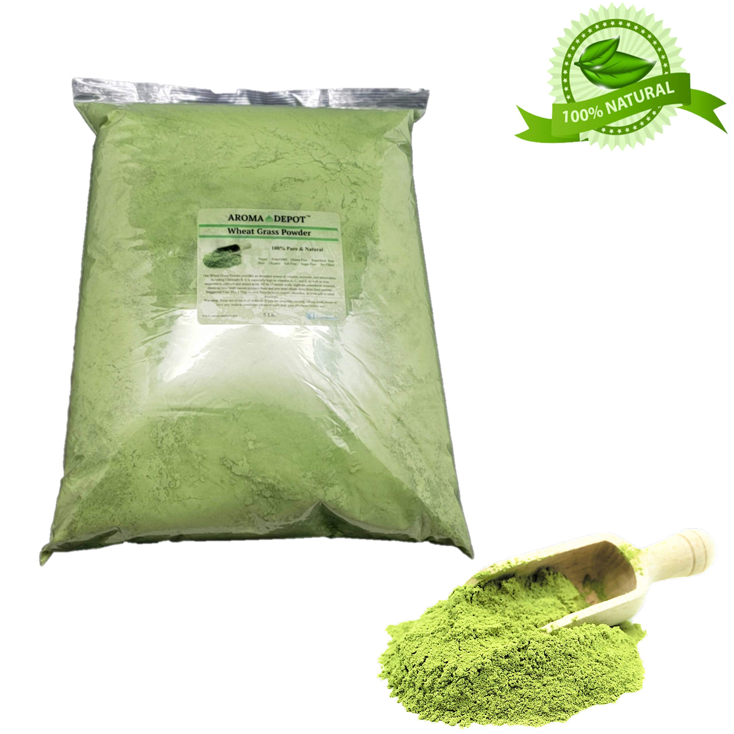 Aroma Depot 5lb Organic Wheatgrass Juice Powder I All Natural Raw Concentrate Wheatgrass, Gluten Free, Whole Food Supplement, Non_GMO, No Fillers, Rich in Vitamin B1 & B2, Increase Blood Cell Oxygen