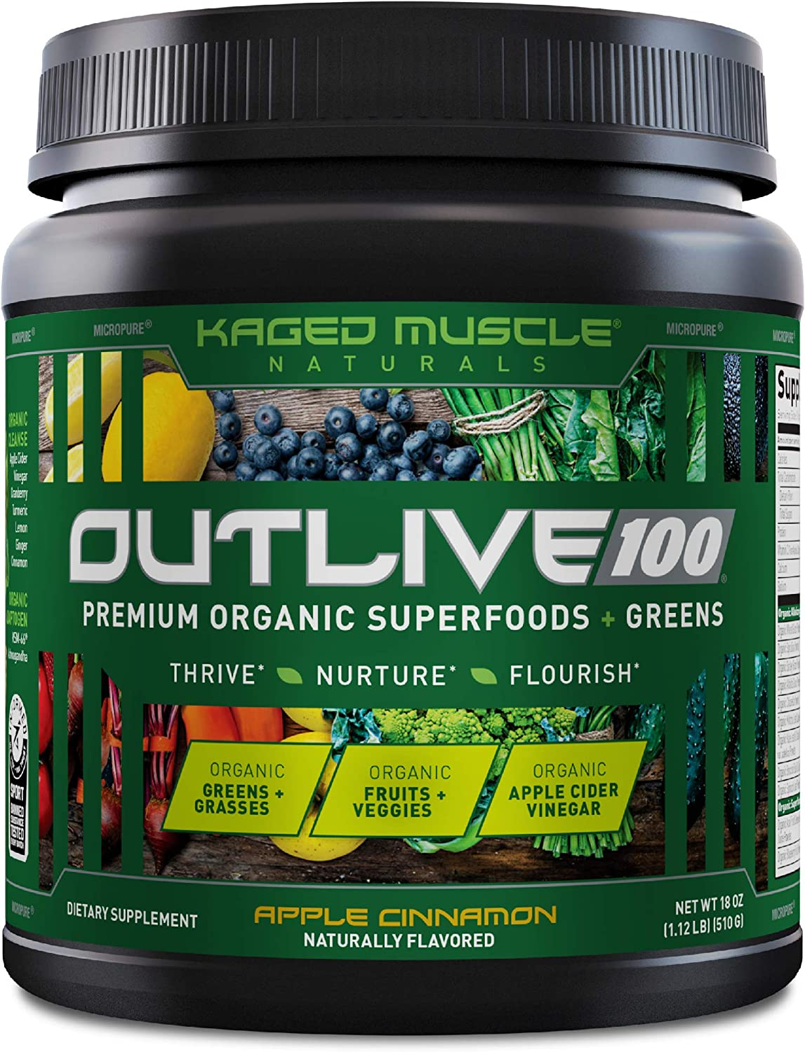 Kaged Muscle Outlive 100 Organic Superfoods and Greens Powder with Apple Cider Vinegar, Antioxidants, Adaptogen, Prebiotics,(Apple Cinnamon, 30 Servings)