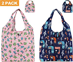 WOOMADA Reusable Shopping Bag Foldable Grocery Bag Large Cute Totes Waterproof Washable Eco-friendly Nylon Bags(Cactus, 2 PACK)