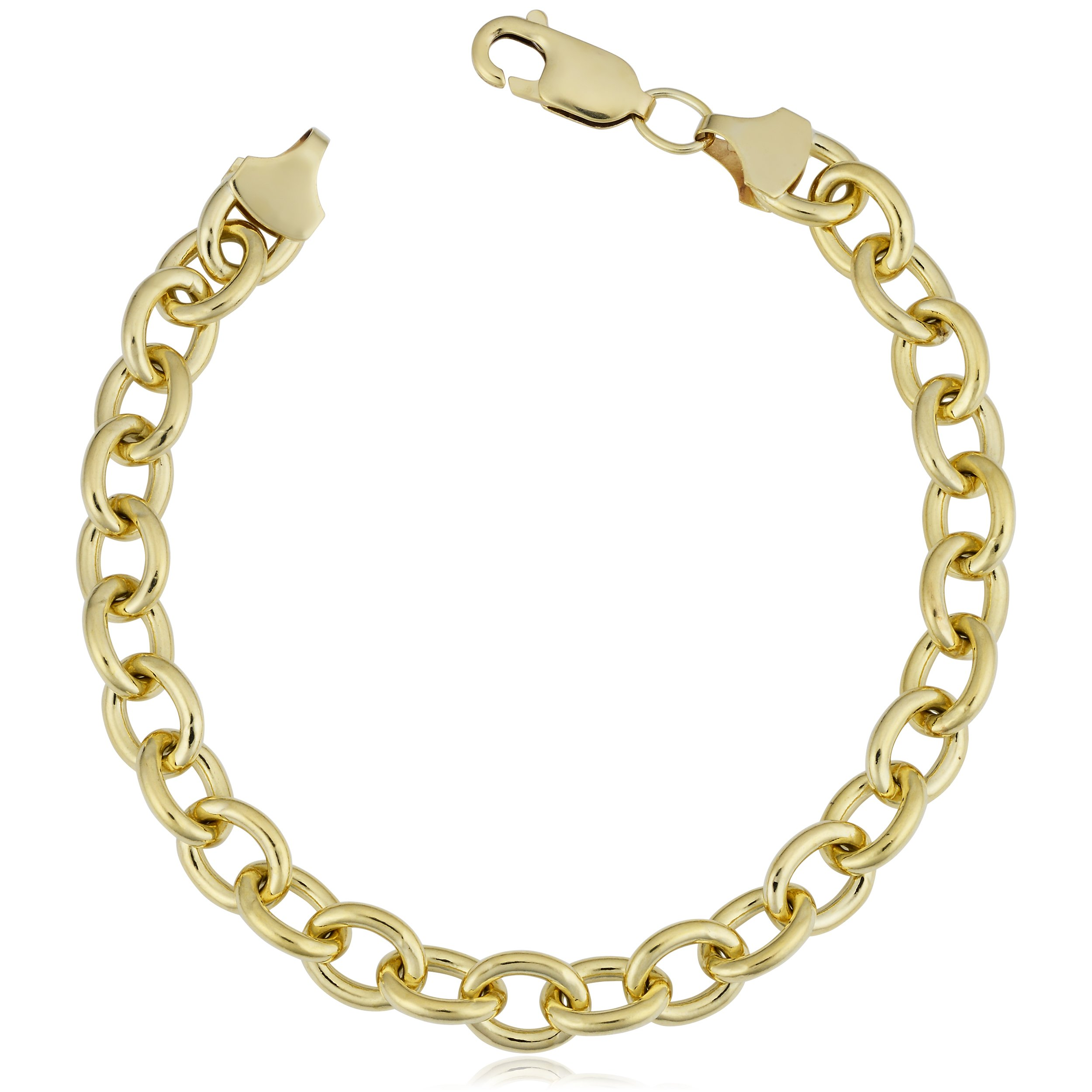 14k Yellow Gold Filled 7.5mm Unisex Bold Oval Link Chain Bracelet (8.5 inch)
