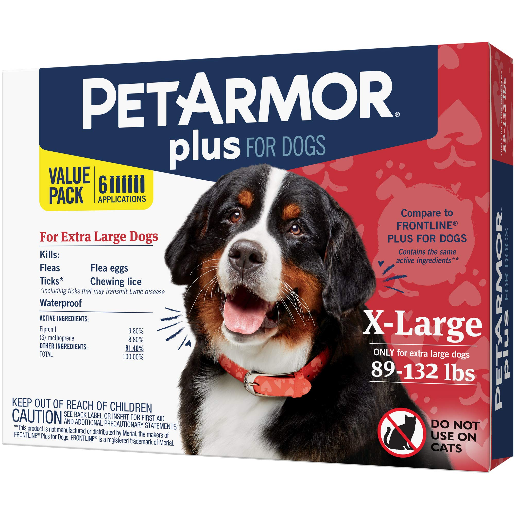 PETARMOR Plus for Dogs Flea and Tick Prevention for Extra Large Dogs (89-132 Pounds), Fast-Acting Topical Dog Flea Treatment, 6 Month Supply by PETARMOR