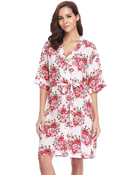 Kimono Mujer Pijama Bata Corto Ropa de Dormir Camison Verano Algodon Sexy Batas y Kimonos Estampado