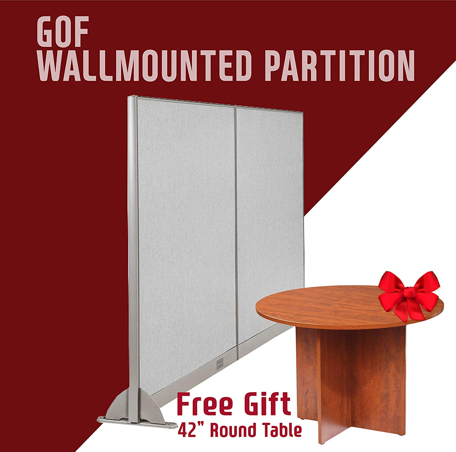 GOF Wall Mounted Office Partition, Large Fabric Room Divider Panel, 96