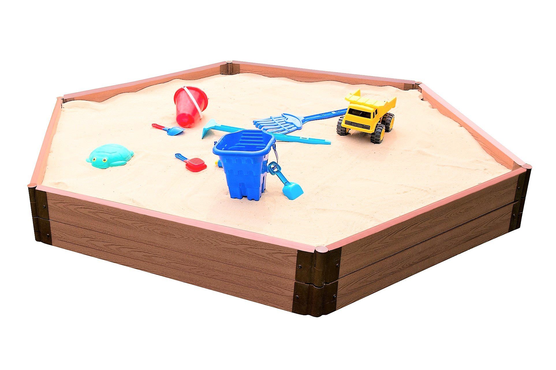 Frame It All 300001511 Two inch Series Composite Hexagon Sandbox Kit with Collapsible Cover, 7' x 8' x 11