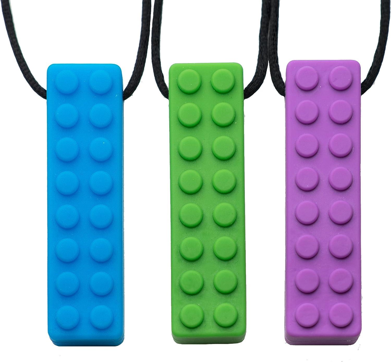 Chew Sensory Lego Teether Necklace ORANGE for Autism ADHD SEN Chewwy Stim