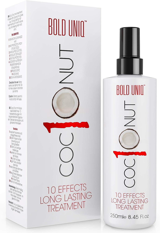Spray Protector del Calor de Coco - Tratamiento Protector del Cabello Sin Enjuague para Cabello Seco, Anti Frizz, Protección UV, Contra Calor, Da Brillo y Cuerpo - 10 Beneficios, Un Producto - 250ml
