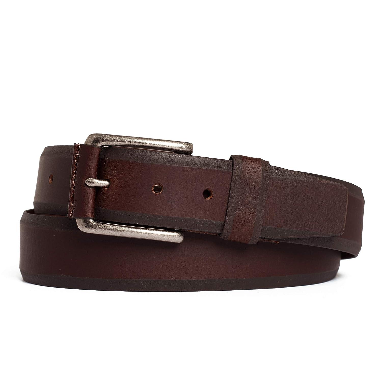 Prospect Park Mens Vintage Sturdy Genuine Leather Belt with Vachetta Strap 1.5 Wide.
