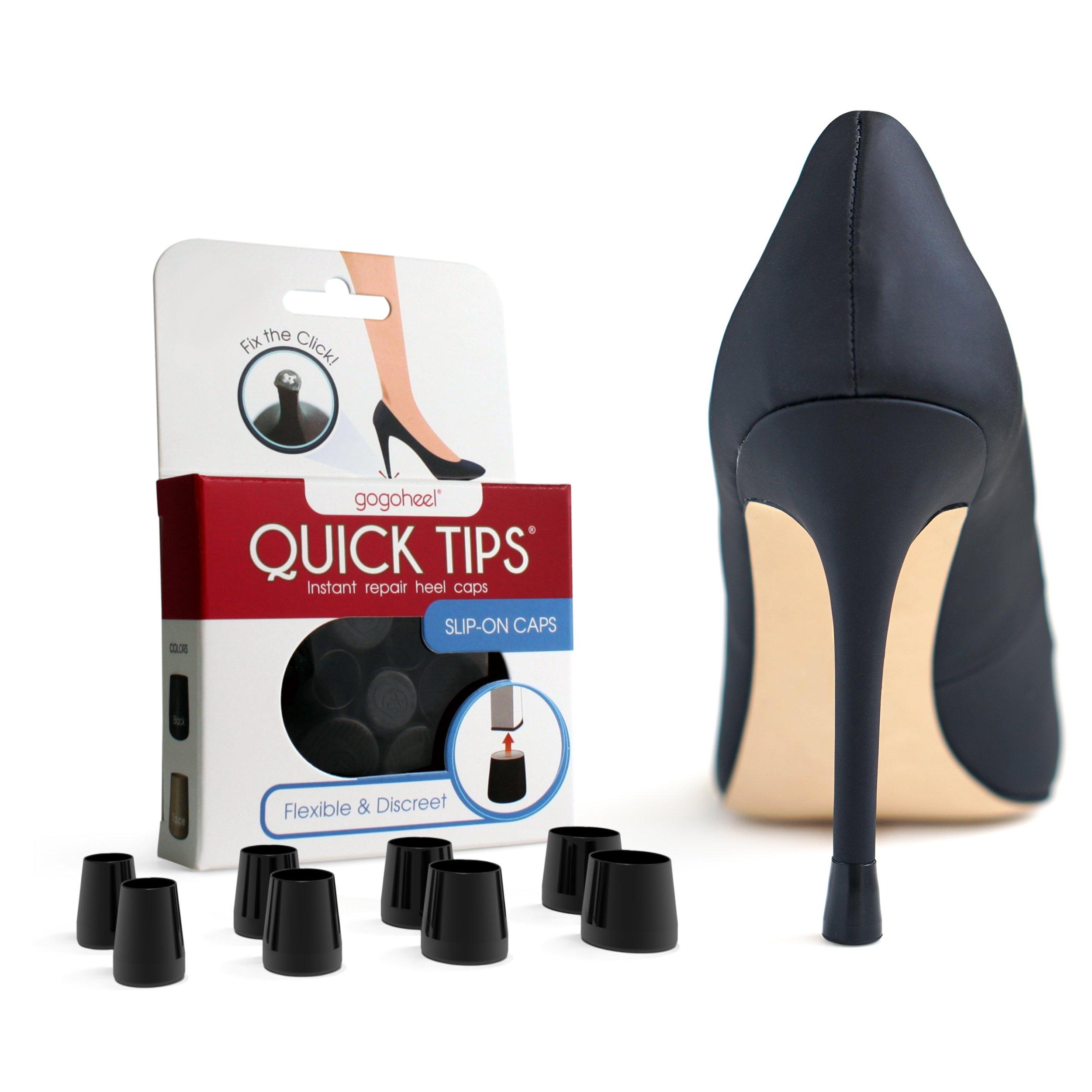 QUICK TIPS High Heel Protector & Heel Repair Caps (4 Pairs, Black)