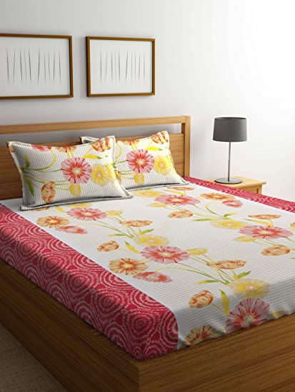 MAFATLAL Multi Color Cotton 144 Tc Double Bed Sheet With Pillow Covers|  Latest Designs |