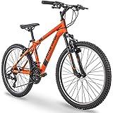 """Royce Union 24"""" RTT Mens 21-Speed Mountain Bike, Aluminum Frame, Trigger Shift, Matte Tangerine"""
