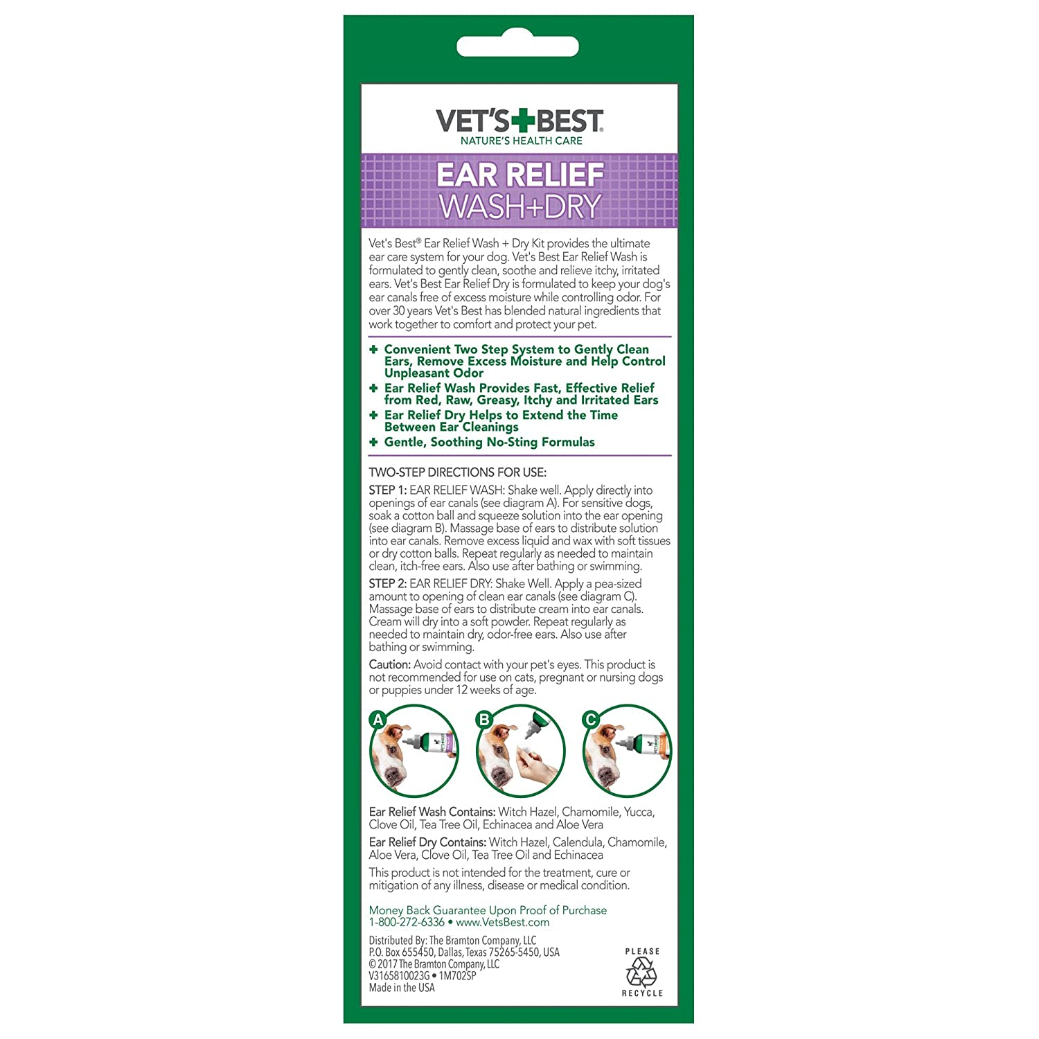 amazon com vet u0027s best ear relief wash u0026 dry for dogs ear cleaner