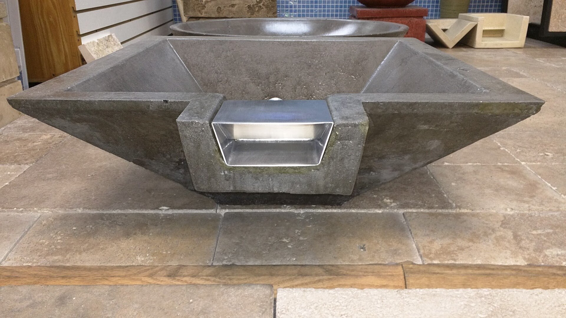 SCUP24S Stainless Water Scupper/ Waterfall Spillway 3.5″w (bottom) 4.75″w (top) 4″ Deep; 3/4 Female Pipe Inlet; Make a Gas FIRE OVER WATER Bowl or Fountain! by easyfirepits.com