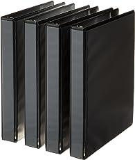 Carpeta AmazonBasics de 3 anillos, 1 pulgada - Paquete de 4 (negro)