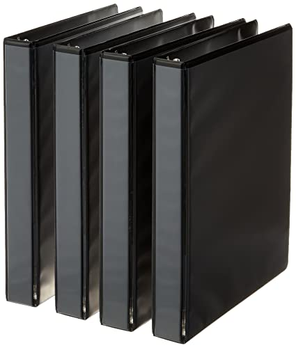 amazon com amazonbasics 3 ring binder 1 inch 4 pack black