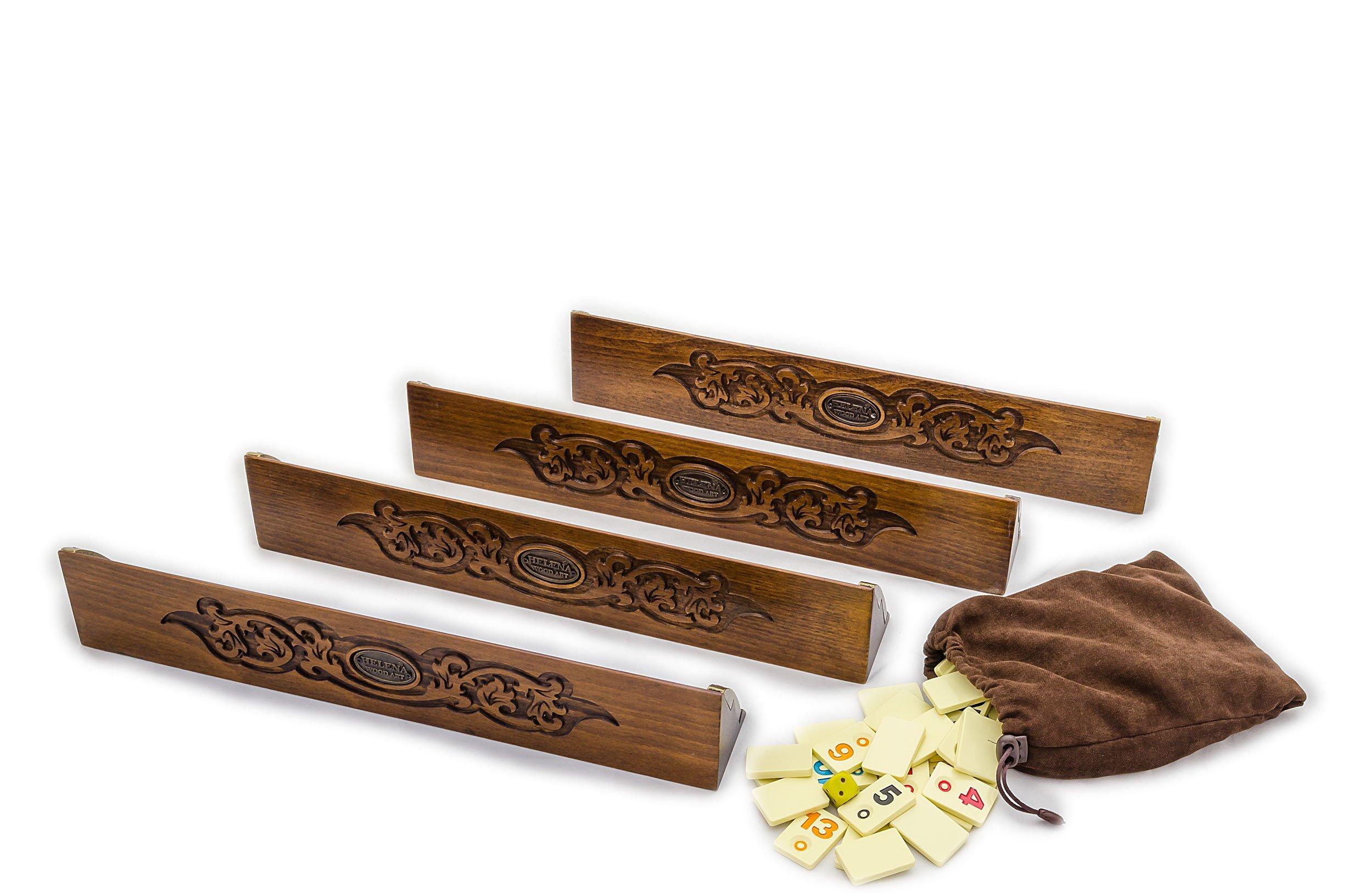 Safran Rummy Game Set - Handcarved Wooden Rummikub Cues - Tile Holders - Turkish Okey by Helena Wood Art (Image #2)