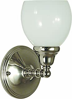 product image for Framburg 2427 PS Sheraton 1-Light Wall Sconce with White Opal Glass, Polished Silver