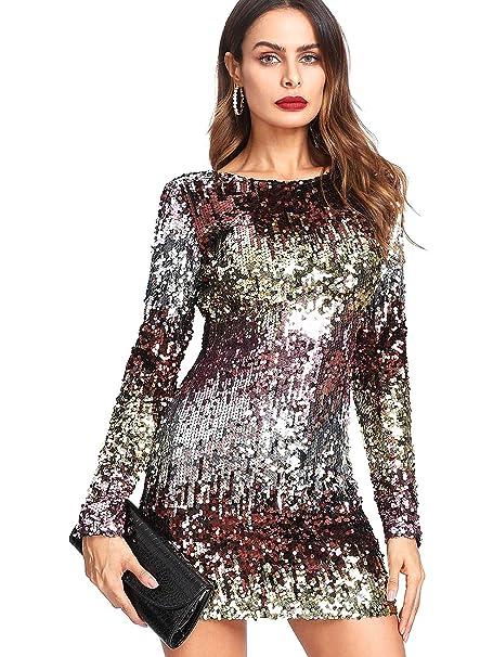 9c2a975a0b45 DIDK Vestidos de Fiesta para Mujer Vestidos con Lentejuelas de Moda para  Mujer Faldas Atractivas de Noche