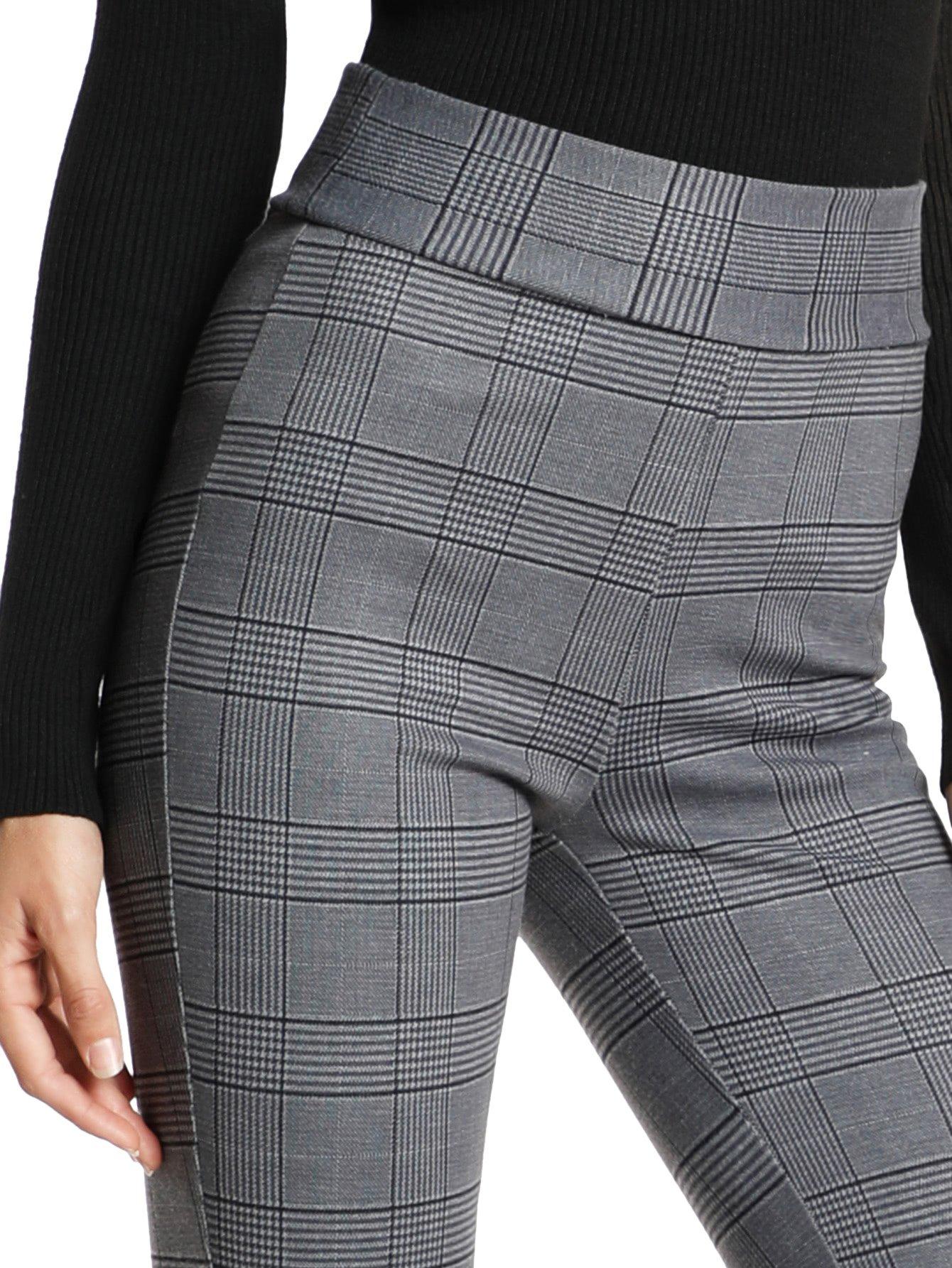 SweatyRocks Women's Casual High Waisted Ankle Plaid Pants Skinny Leggings, Grey #1, L by SweatyRocks (Image #5)