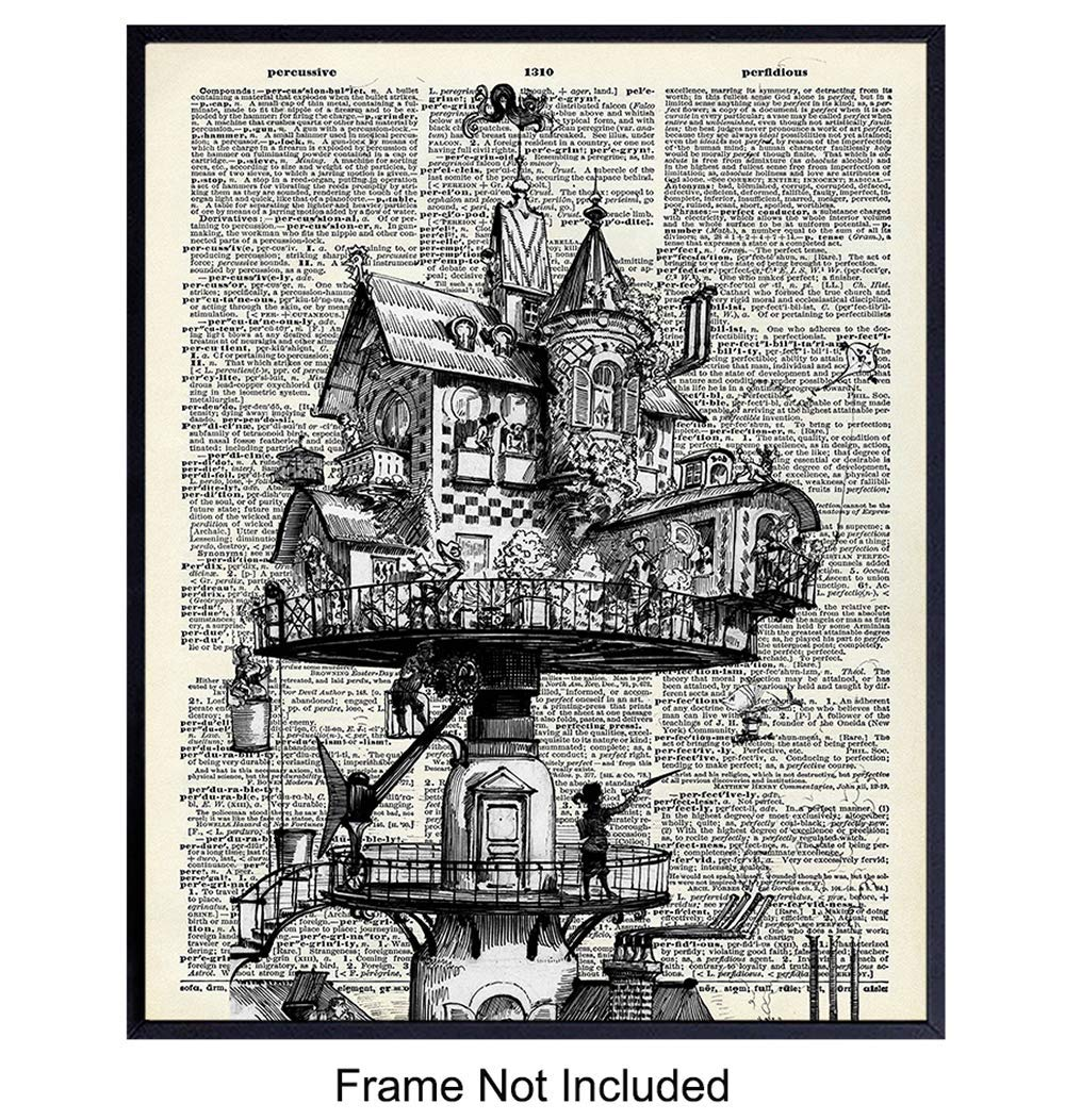 Wall Art Print on Dictionary Photo - Ready to Frame (8x10) Vintage Photo - Great Gift for Steampunk - Chic Home Decor - Fantasy House